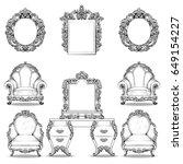 rich baroque rococo armchair...   Shutterstock .eps vector #649154227