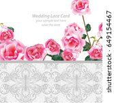 rose flowers and lace wedding...   Shutterstock .eps vector #649154467