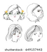 cute girl illustration set | Shutterstock .eps vector #649157443