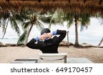 businessman relaxing at the... | Shutterstock . vector #649170457