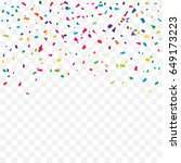 many falling colorful confetti... | Shutterstock .eps vector #649173223
