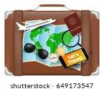 travel bag with world map... | Shutterstock .eps vector #649173547