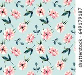 seamless floral pattern with... | Shutterstock . vector #649179187