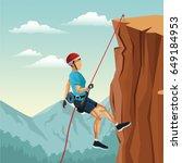 scene landscape man mountain... | Shutterstock .eps vector #649184953