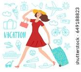 lovely girl running with... | Shutterstock .eps vector #649188823