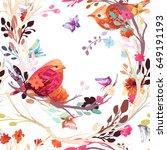 vintage seamless pattern  bird  ... | Shutterstock .eps vector #649191193