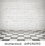 room interior with white brick... | Shutterstock . vector #649196593