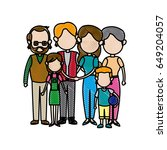 big family embraced together... | Shutterstock .eps vector #649204057