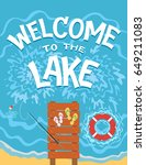 welcome to the lake. top view... | Shutterstock .eps vector #649211083