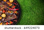 barbecue garden grill with beef ... | Shutterstock . vector #649224073