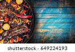 barbecue garden grill with beef ... | Shutterstock . vector #649224193