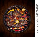 barbecue garden grill with beef ... | Shutterstock . vector #649224283