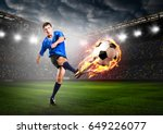 soccer or football player is... | Shutterstock . vector #649226077