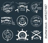 set of vintage fishing labels ... | Shutterstock . vector #649227487