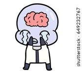 cartoon big brain alien crying | Shutterstock .eps vector #649232767