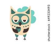 sad cartoon owl bird colorful...