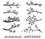 set of branch tree with leaves | Shutterstock .eps vector #649234453