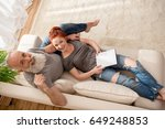 high angle view of happy mature ... | Shutterstock . vector #649248853