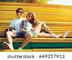 fashion young couple teenagers... | Shutterstock . vector #649257913