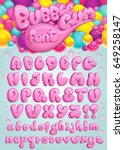 Font Bubble Gum. Vector Set Of...
