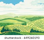 rural landscape with hills and