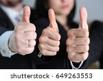 group of people showing ok or... | Shutterstock . vector #649263553