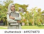 beautiful asian muslim woman... | Shutterstock . vector #649276873