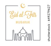 eid mubarak logo line concept... | Shutterstock .eps vector #649279627