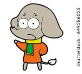 cartoon unsure elephant in scarf   Shutterstock .eps vector #649286023