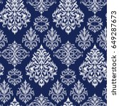 blue ikat ogee and damascus... | Shutterstock .eps vector #649287673