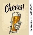 male hand holding a full beer... | Shutterstock .eps vector #649289803