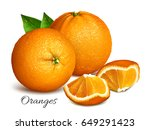whole ripe oranges and slices.... | Shutterstock .eps vector #649291423