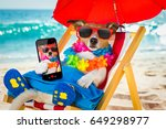 jack russel dog resting and... | Shutterstock . vector #649298977