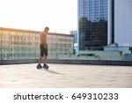 man riding hoverboard. guy on... | Shutterstock . vector #649310233