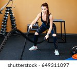 a young girl trains in the gym. ...   Shutterstock . vector #649311097
