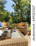 cozy garden with wicker... | Shutterstock . vector #649321567