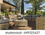 cozy terrace with wicker... | Shutterstock . vector #649321627