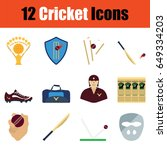 flat design cricket icon set in ...