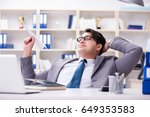 businessman with paper airplane ... | Shutterstock . vector #649353583
