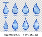 set of transparent drops in... | Shutterstock .eps vector #649355353