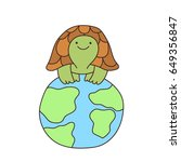 funny cartoon turtle on the... | Shutterstock .eps vector #649356847
