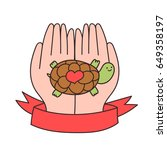 funny cartoon turtle in human... | Shutterstock .eps vector #649358197