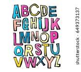 alphabet poster  dry brush ink... | Shutterstock .eps vector #649373137