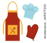 kitchen set with apron  cook... | Shutterstock .eps vector #649377253
