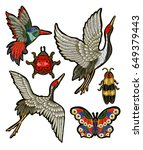 ladybug  butterfly  beetle ... | Shutterstock .eps vector #649379443