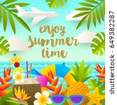 flat vector design. tropical... | Shutterstock .eps vector #649382287
