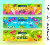 set of summer sale banners.... | Shutterstock .eps vector #649382347