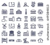 building icons set. set of 36... | Shutterstock .eps vector #649384813