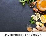 ingredients for making ginger... | Shutterstock . vector #649385137