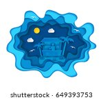 paper art carving with tropical ... | Shutterstock .eps vector #649393753